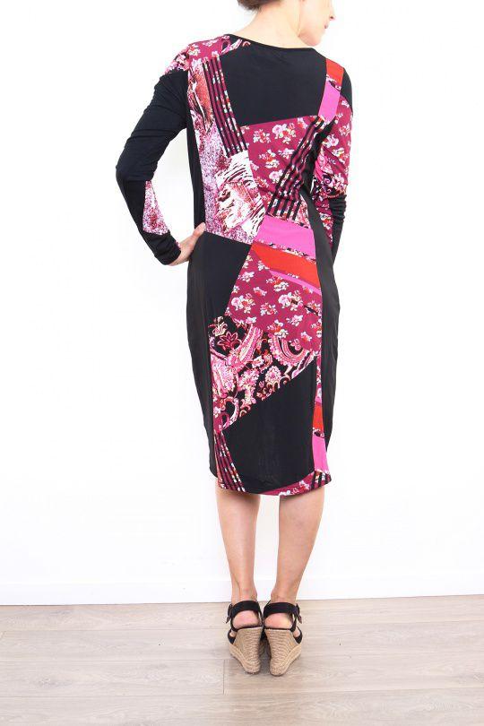 Robe colorée pour femme avec un col en V rouge Cindy 302674