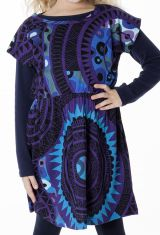 Robe colorée pour petite fille pas chère de couleur bleu 287425