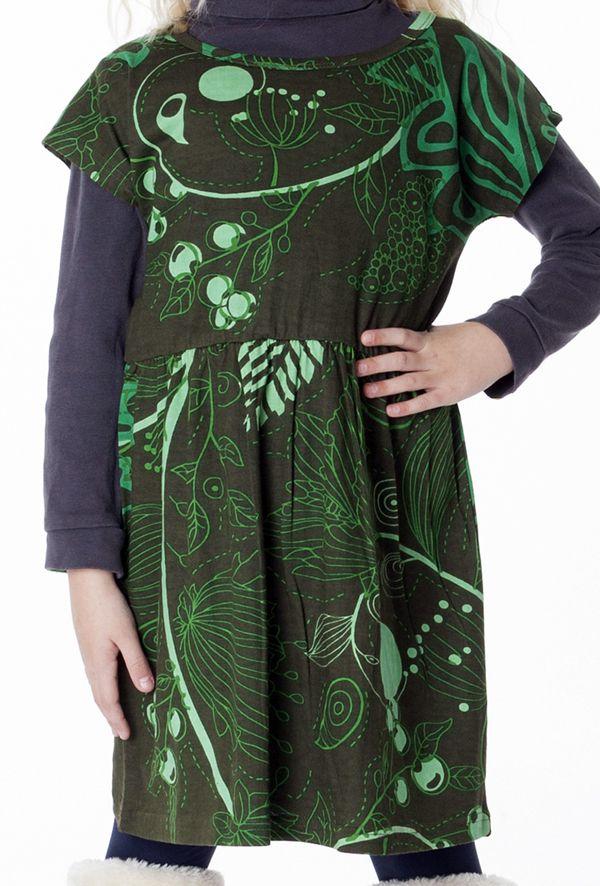 Robe colorée pour petite fille pas chère de couleur vert 287431