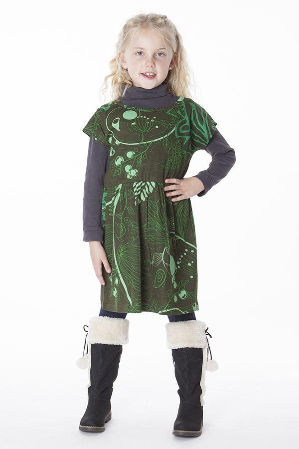 Robe colorée pour petite fille pas chère de couleur vert 287432