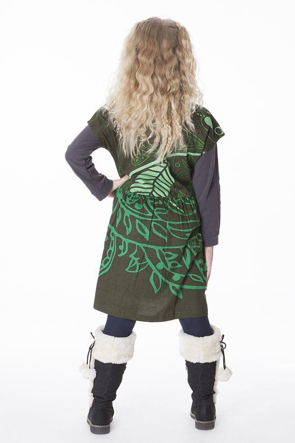 Robe colorée pour petite fille pas chère de couleur vert 287433