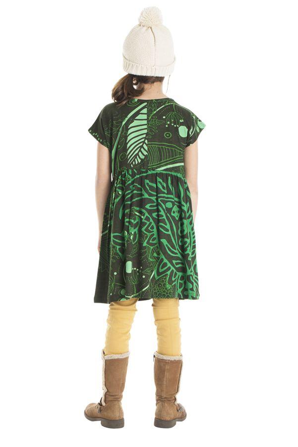 Robe colorée pour petite fille pas chère de couleur vert 302254