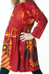 Robe colorée rouge élastiquée à la taille pour enfant 287295