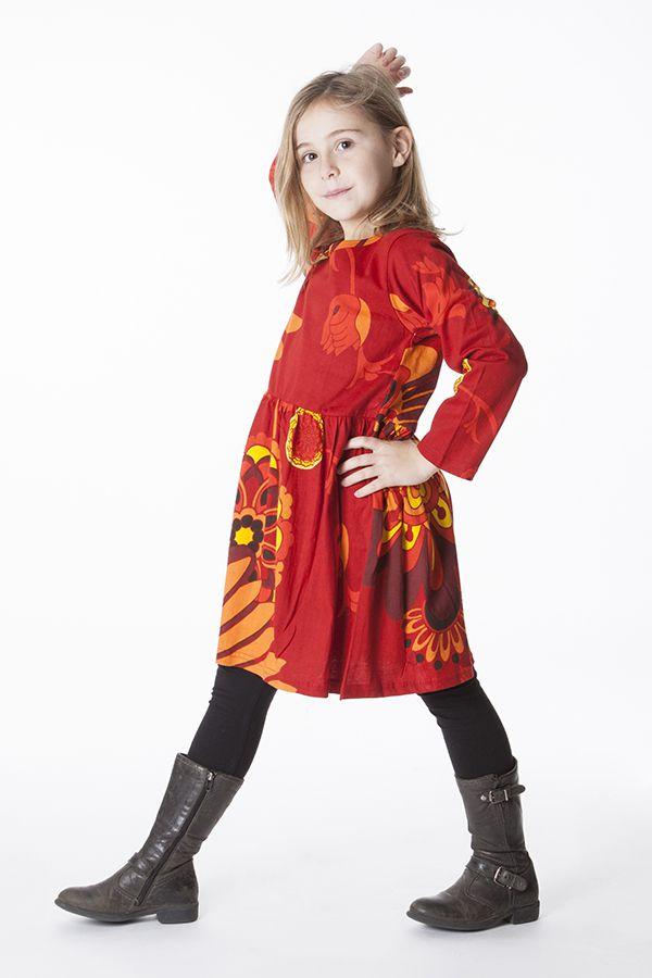Robe colorée rouge élastiquée à la taille pour enfant 287296