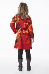 Robe colorée rouge élastiquée à la taille pour enfant 287297