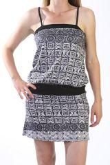 robe coupe courte et droite à bretelles avec motifs originaux Zénia 291010