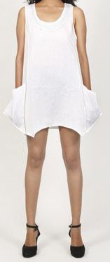 Robe courte / Tunique pour femme d'été sans manches - Blanche- Pamela 272026