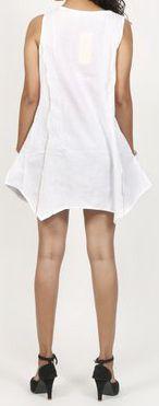 Robe courte / Tunique pour femme d'été sans manches - Blanche- Pamela 272027