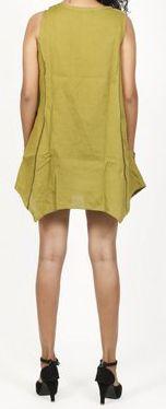 Robe courte / Tunique pour femme d'été sans manches - Verte- Pamela 272025