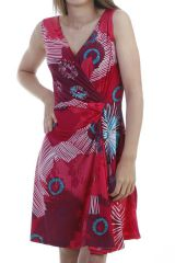 Robe courte  agréable avec col cache coeur fuchsia Addy 296845