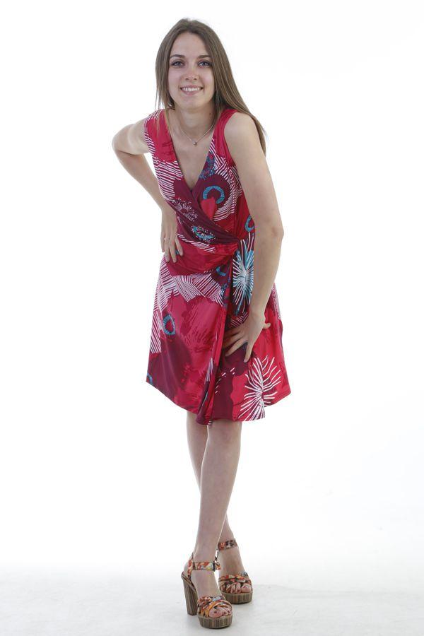 Robe courte  agréable avec col cache coeur fuchsia Addy 296847