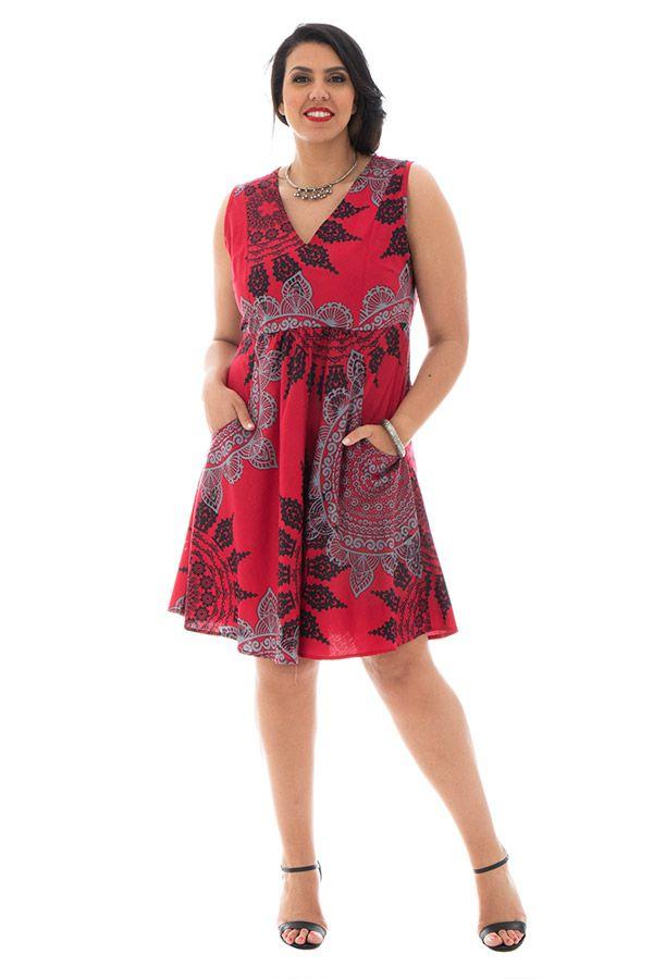 Robe courte 100% coton plissée à la taille avec imprimés Wanda 290393