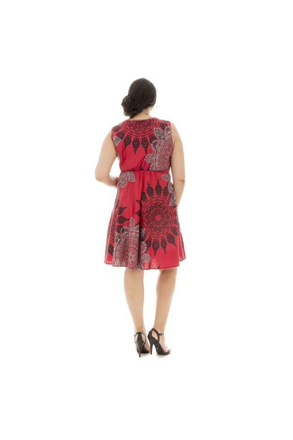 Robe courte 100% coton plissée à la taille avec imprimés Wanda 290394
