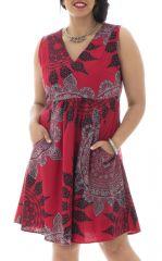 Robe courte 100% coton plissée à la taille avec imprimés Wanda 291953