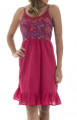 Robe courte à bretelles Décolletée et Féminine Coraline Rose 295238