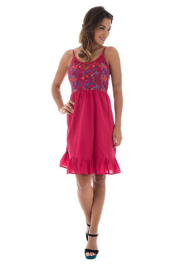 Robe courte à bretelles Décolletée et Féminine Coraline Rose 295239