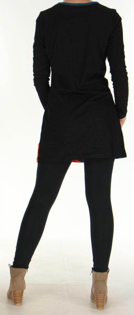 Robe courte à Broderies Originale et Colorée Vickie Noire 276451