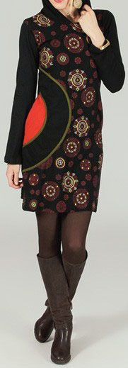 Robe courte à capuche ethnique et originale Noire Eponine 273829