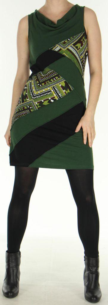 Robe courte à col bénitier Ethnique et Originale Maroussia Kaki 278815