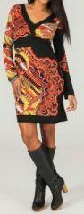 Robe courte à col en V ethnique et colorée Flamme 273949