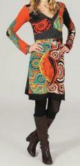 Robe courte à col en V ethnique et colorée Lorette 273952