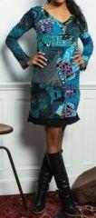 Robe courte à col en V ethnique et colorée Madeline 273954
