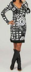 Robe courte à col en V ethnique et colorée Merline 273951