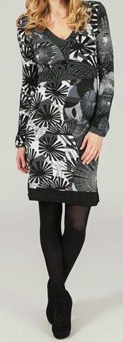 Robe courte à col en V ethnique et colorée Miliane 273953