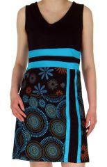 Robe courte à col en V Ethnique et Originale Sarah Noire 283081