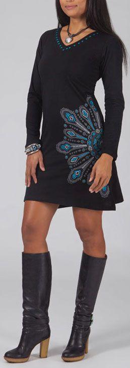 Robe courte à col en V manches longues noire originale rosalie
