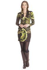 Robe courte à col en V Originale et Ethnique Ticali Chocolat 285450