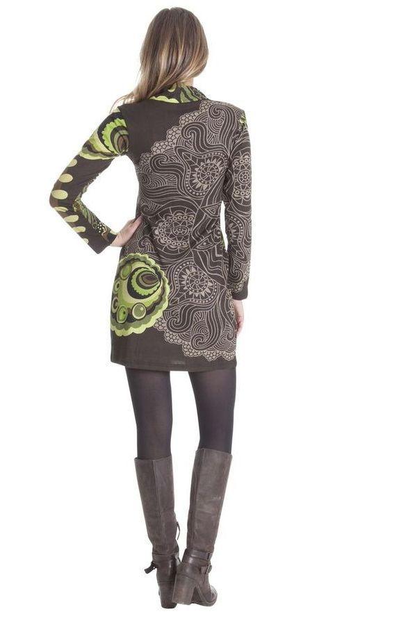 Robe courte à col en V Originale et Ethnique Ticali Chocolat 285451