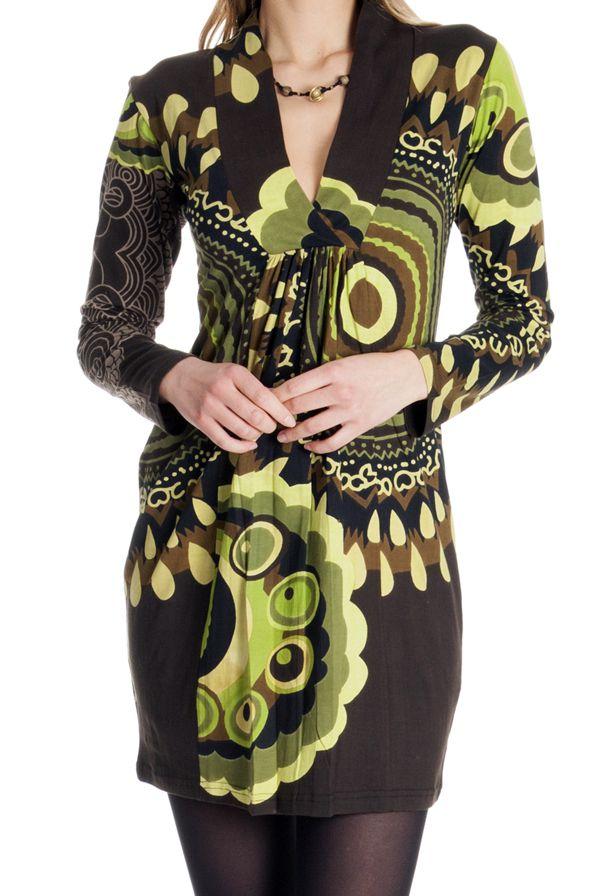 Robe courte à col en V Originale et Ethnique Ticali Chocolat 287223