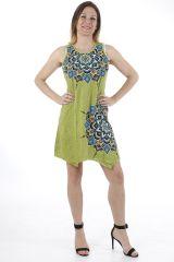 Robe courte à col rond colorée et atypique Valérianne 310894