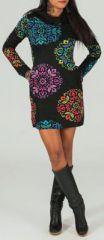 Robe courte à col rond Ethnique et Originale Adixia 274158