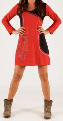 Robe courte à col rond Ethnique et Originale Pissel Noire et rouge 278576