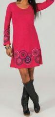Robe courte à col rond ethnique et originale Rose Fanette 273855
