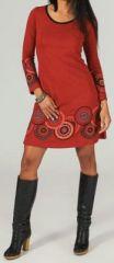 Robe courte à col rond ethnique et originale Rouge Fanette 273841