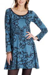 Robe courte à col rond Ethnique et Originale Tiara Bleue 286831