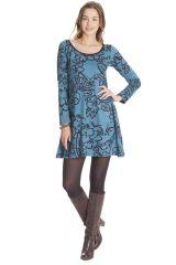 Robe courte à col rond Ethnique et Originale Tiara Bleue 286832