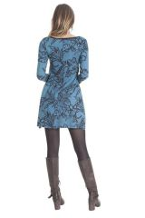 Robe courte à col rond Ethnique et Originale Tiara Bleue 286833