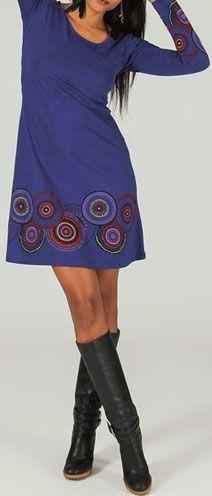 Robe courte à col rond ethnique et originale Violet Fanette 273856