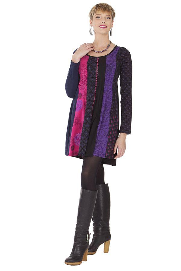 Robe courte à col rond Originale et Colorée Abril Rose 285329