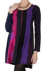 Robe courte à col rond Originale et Colorée Abril Rose 286824