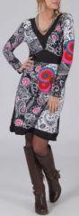 Robe courte à col V Chic et Ethnique Laetitia Blanche 274932