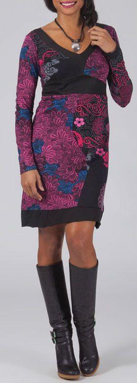 Robe courte à col V Chic et Ethnique Laetitia Rose 274931