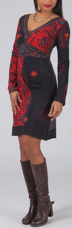 Robe courte à col V Chic et Ethnique Laetitia Rouge 274930