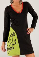Robe courte à col V Ethnique et Colorée Anastasia Noire 277891