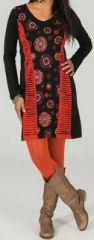 Robe courte à col V ethnique et colorée Noire Isaa 273837