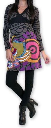 Robe courte à col V Ethnique et Colorée Tamari Gris 274521